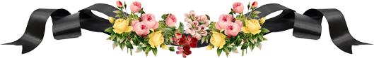 Цветы и траурная лента